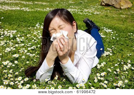 Asian American Woman Allergic To Flowers Sneezing Sic