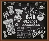 Tiki Bar and Lounge Chalkboard Cocktail Menu - Blackboard poster advertising Hawaiian tiki bar, with tiki gods, surfer, palm trees, coconut drink and the list of exotic Caribbean cocktails poster