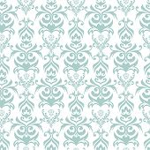 Seamless turquoise and white damask retro background poster