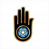 Hand with a Pentacle-Symbolizes both violence and non violence poster