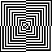 Optical illusion background- perspective with black lines poster