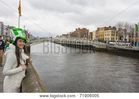 Young Woman With St. Patrick's Hat