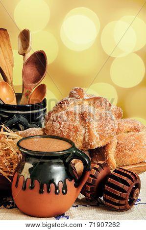 Hot Chocolate And Sweet Bread Pan De Muerto