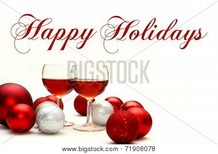 Red Wine And Christmas Decorations With Text Happy Holidays