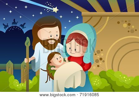 Joseph, Mary And Baby Jesus For Nativity Concept