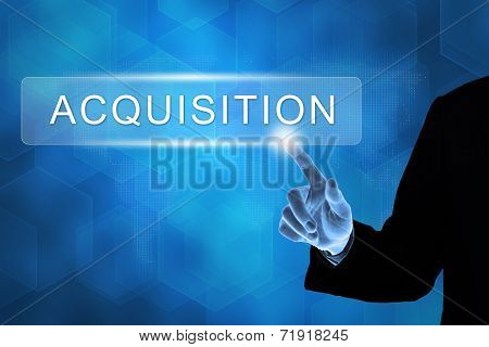 Business Hand Pushing Acquisition Button