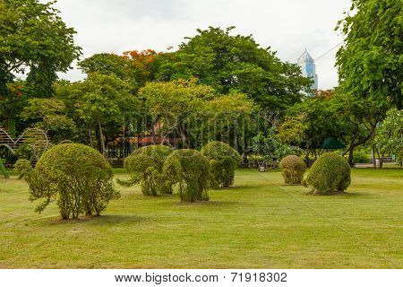 Grass Elephants in Lumpini park Bangkok Thailand
