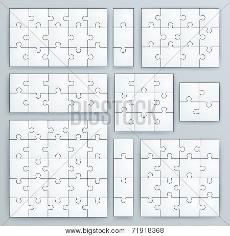 Jigsaw Puzzle Templates. Set of puzzle 15, 3, 12, 10, 9, 4, 16, 25 pieces poster
