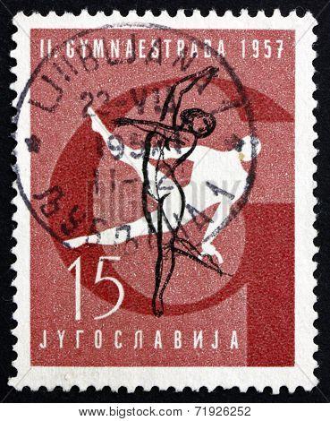 Postage Stamp Yugoslavia 1957 Gymnastic Position, Pommel Horse
