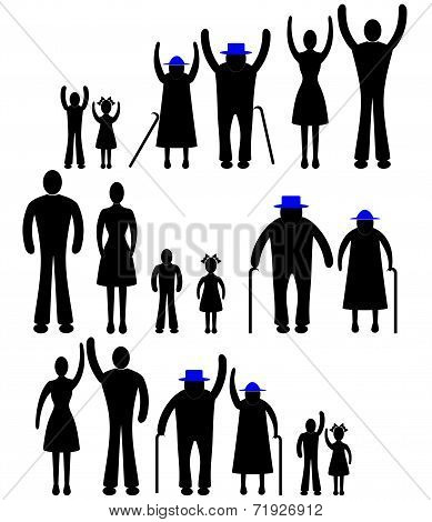 People Silhouette Family Icon. Person Vector Woman, Man. Child, Grandfather, Grandmother Generation