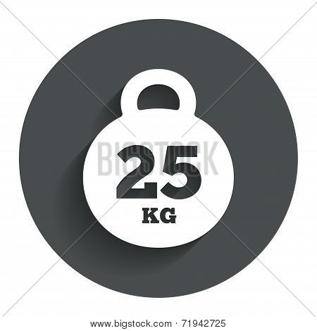 Weight sign icon. 25 kilogram (kg). Sport symbol