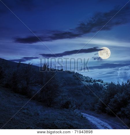Gravel Path In Mountains At Night