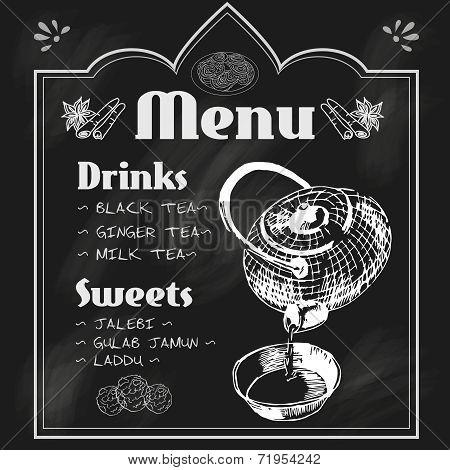 Teapot and teacup blackboard menu