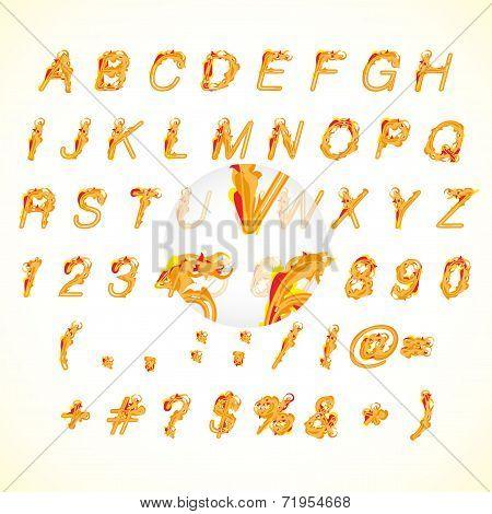 Calligraphic fire design alphabet vector illustration
