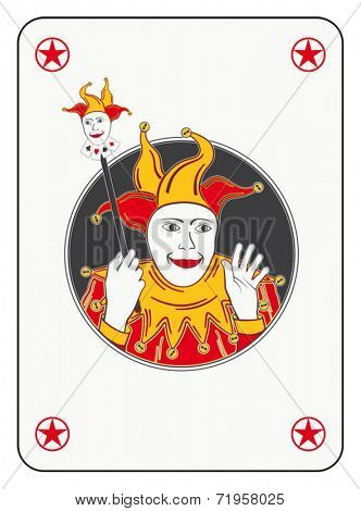 Circled joker playing card in red and orange costume