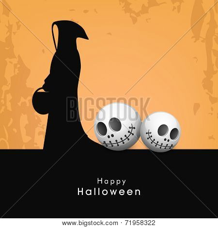 Halloween night party celebration with traditional ghost and scary skull on grungy background. poster