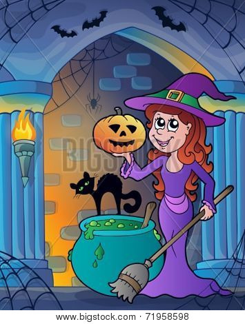 Wall alcove with Halloween theme 4 - eps10 vector illustration.