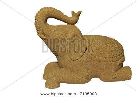 Sandstone Elephant on white