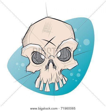 creepy skull in sketchy style