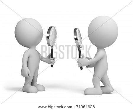 Two People With A Magnifying Glass
