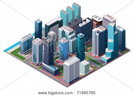 Vector isometric city center map