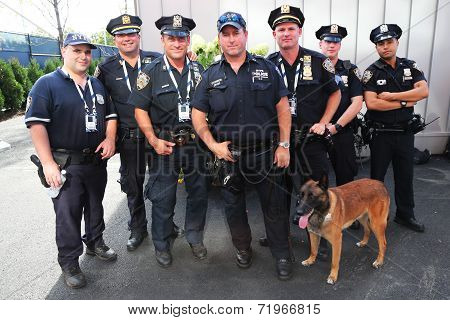 NYPD transit bureau K-9 police officers and K-9 dog providing security at US Open 2014