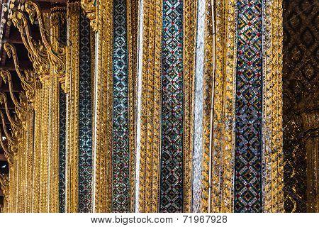 Detail shot in Wat Phra Kaew Temple of the Emerald Buddha Bangkok Thailand. poster