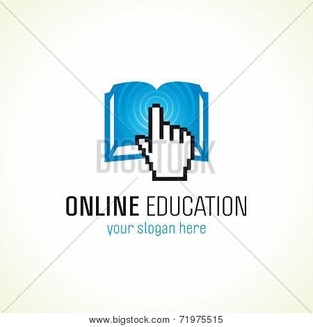Online education vector logo with pixel hand, open book and radio waves. Internet school sign. E book or e reader computers settings or smartphone application icon.