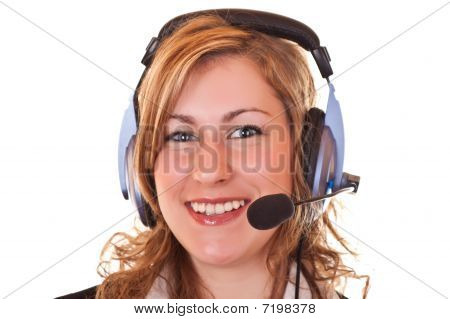 Woman With Headset And Microphone