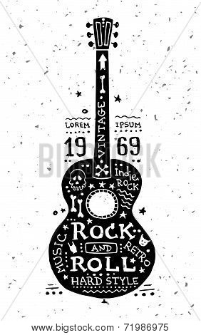 Illustration of vintage grunge label with guitar