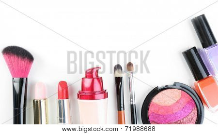 Beautiful decorative cosmetics and makeup brushes, isolated on white poster