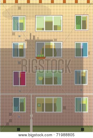 Exterior wall  with  windows. Apartment building. Vector illustration.