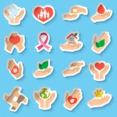 Charity donation social services emblems paper stickers set isolated vector illustration poster