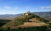 Aguilar, chateau cathare du XIIIe siecle, dans le sud de France, le departement d'Aude. - French medieval castle Aguilar. poster