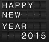 Happy new year 2015 card in display board style (solari board flightboard flipboard) poster