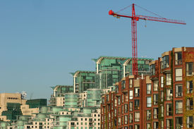 Residential buildings and crane