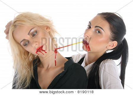 Woman Sucks Blood From Neck Of Other Woman