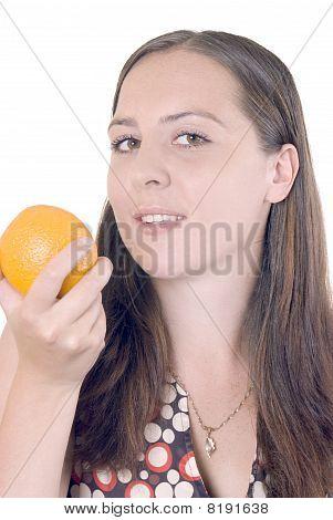 girl and orange