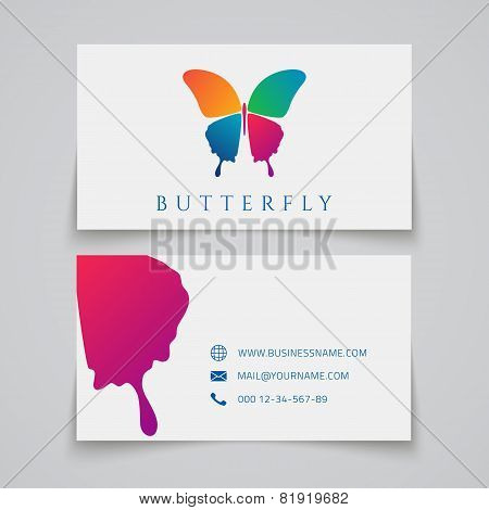 Bussiness card template. Butterfly logo