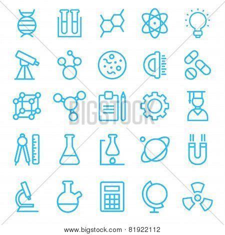 Science icon set for your products and projects, easy to edit, re-size and colorize.