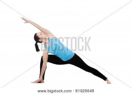 Yogi Female In Yoga Pose Uthitta Parshvakonasana