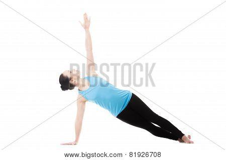 Yogi Female In Yoga Side Plank Pose