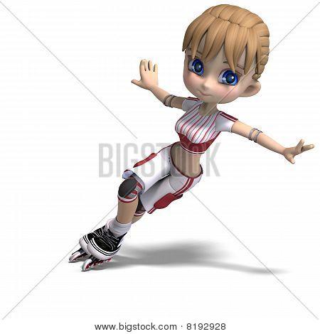 cute Cartoon Mädchen mit Inline-skates