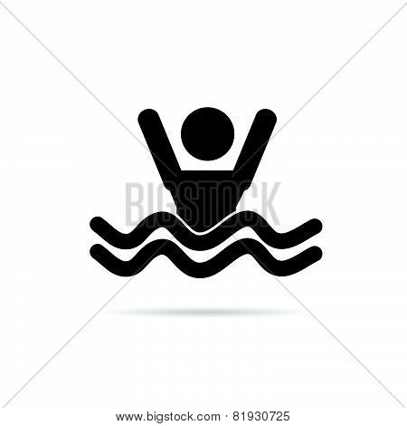 Man In The Sea Icon Vector