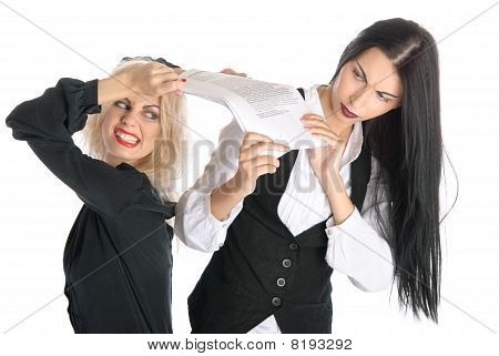 Quarrel Of Two Women Because Papers