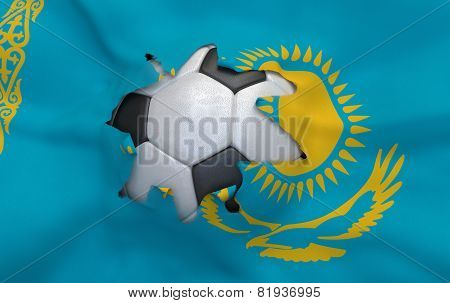 The Hole In The Flag Of Kazakhstan And Soccer Ball