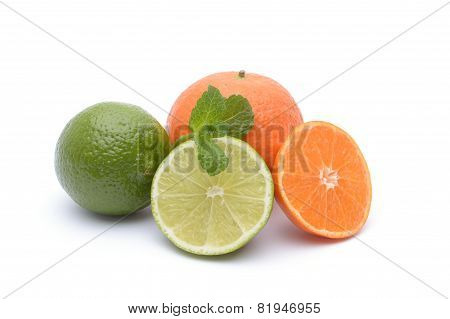 Lime, Tangerine And Mint On A White Background