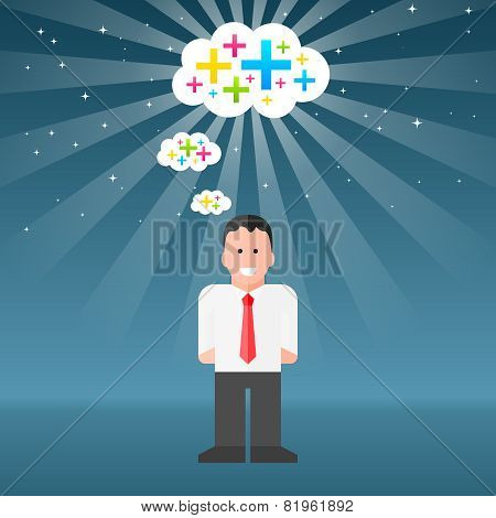 Vector Businessman Thinking Positive Thoughts. EPS10 Vector
