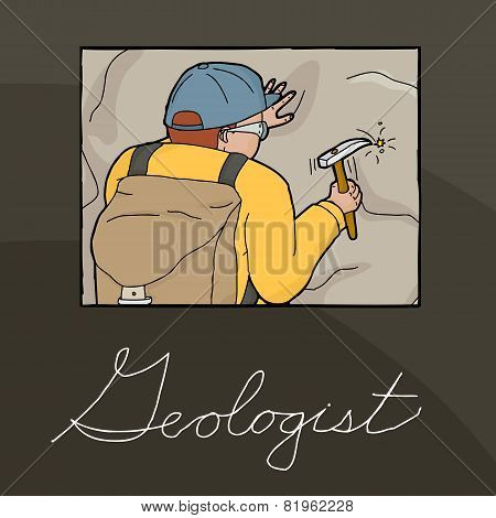 Geologist Collecting Samples Illustration