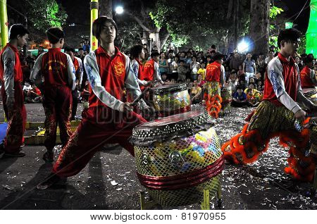 Musicians Playing On Drums During The Tet Lunar New Year In Saigon, Vietnam